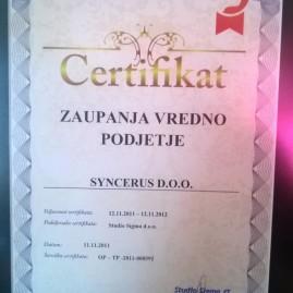 Čokoladnica Olimje, certifikat vredno podjetje