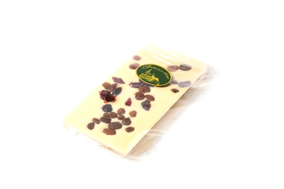Bela čokolada z brusnicami in rozinami 100 g